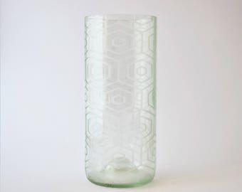 Wine Bottle Vase - Hexagon Pattern - Upcycled wine bottle etched glass vase - Gift