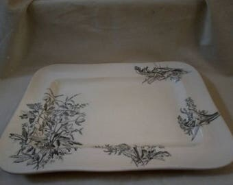 Antique Anemone and sons Serving platter plate tray - Wild flower design Signed stamped -  cream and dark green