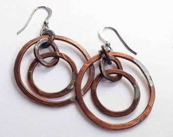 Copper Multiple Hoop Earrings/Handmade Hoop Earrings/Copper Circle Earrings/Gift For Her/Dangling Hoop Earrings/Rustic Handmade Earrings