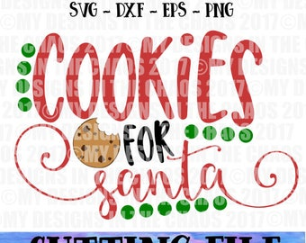 Christmas Santa Cookie Plate SVG File / Holiday Design / Cut File for Silhouette or Cricut / Cookies for Santa / Santa SVG / Santa Plate