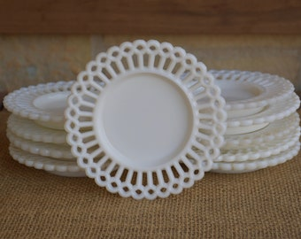 Antique, Rare  Milk Glass Small Plate (1), Possibly Challinor, Taylor and Co., Selling individually, 10 Total Available for Purchase