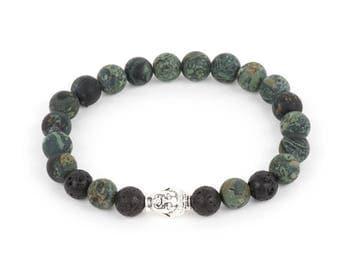 Rhyolite Buddha Men's Bracelet