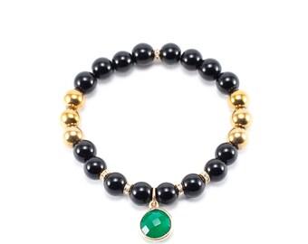 Green Agate Black Jasper Bracelet