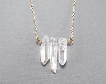 Glossy Crystal Quartz Tri- Point Pendant Necklace