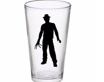 Freddy Krueger Nightmare on Elm Street Pint Wine Glass Tumbler Alcohol Drink Cup Barware Halloween Merch Massacre