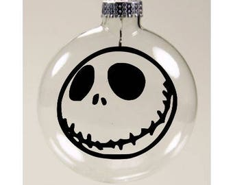 Jack Skellington Nightmare Before Christmas Christmas Ornament Glass Disc Holiday Horror Merch Massacre