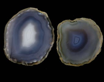 2 Pcs Genuine Agate Slice Uneven Gemstone~56x47mm~290Cts~Natural Agate Slice Pendant Gemstone*GS1534