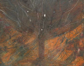 Expressionist landscape tree oil painting