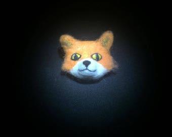 Felted Fox brooch.