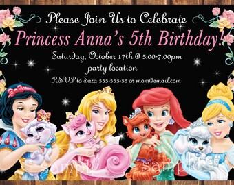Disney Princess birthday invitation,Disney Princess invitation, Palace Pets Birthday Invitation -digital z
