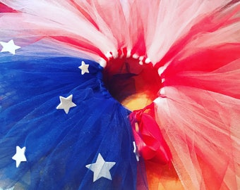 Red white and blue baby girl tutu