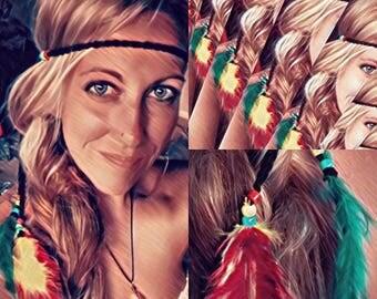 Rasta Festival Reggae Crocheted Headband- Red Yellow Green- with feathers