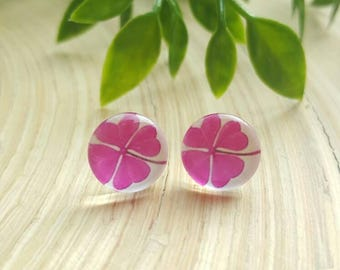 Beautiful Pink Four Leaf Clover Glass Cabochon Stud Earrings