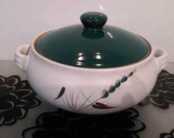 Vintage 1950/60s Denby England Stoneware 'Greenwheat' Casserole Dish ~Tureen ~ Crockpot