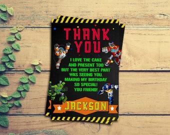 Rescue Bots/Resceu Bots Thank You Cards/Resceu Bots Thank You/Rescue Bots Birthday/Rescue Bots Party/Rescue/Resceu Bots Invitation