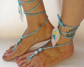 Super trendy blue beaded barefoot sandals - 1 pair