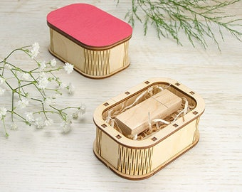 Wood USB box with round corners and painted lid (free filling included)