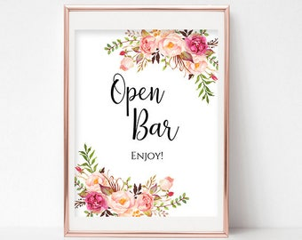 Open Bar Sign Wedding Sign Floral Shower Sign Sign Bridal Reception Sign Instant Download PDF 4x6, 5x7, 8x10 Pastel Blooms Collection DIY
