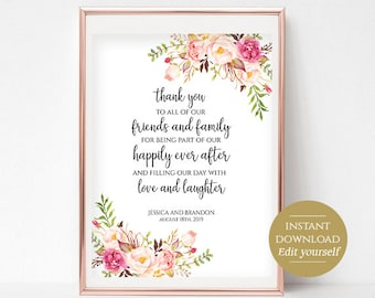 Personalized Wedding Thank You Sign Printable Reception Sign Thank You Poster Floral Sign Instant Download PDF 4x6, 5x7, 8x10 Pastel Blooms