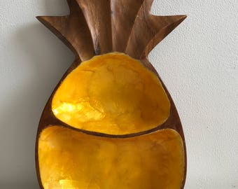 Vintage wooden pineapple platter plate beach house tropical tiki mid century style kitsch retro tropical