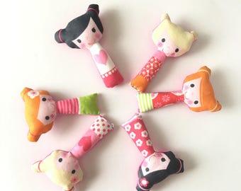 Blythe accessories, miniature kokeshi doll, Blythe toy, Blythe pillow, Blythe prop, 1/6 scale toy