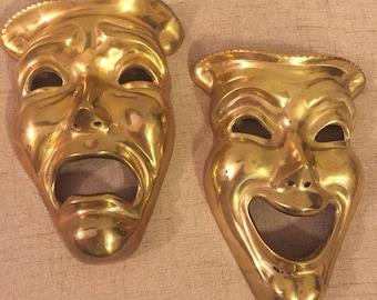 Theatre Wall Decor, Happy Face, Sad Face, Melpomene, Thalia, Comedy, Tragedy, Solid Brass, India, Plaque