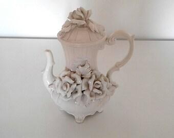 Coffee pot white vintage Bassano 1960
