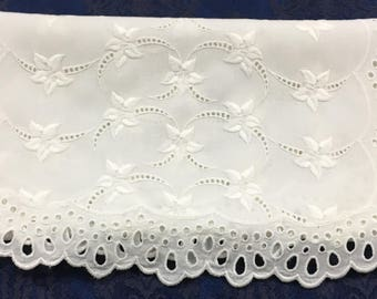 Vintage Table Runner Dresser Scarf White Eyelet with Flowers