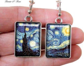 Vincent Van Gogh's painting starry night bronze-n-roses earrings
