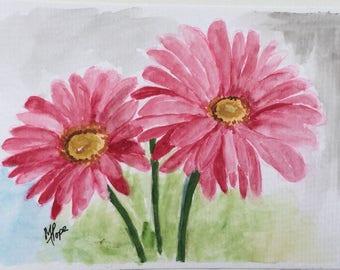 Gerbera flowers/Gerbera/Floral greeting card/Flower card/Flower Watercolor Card/5 x 7 greeting card/Red flowers/card and envelope