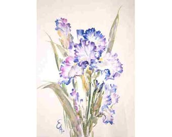 Watercolor irises,  white flowers, a small picture,decoration of an interior,gifts of up to 50 dollars43x30cm Razumeyko Catherine