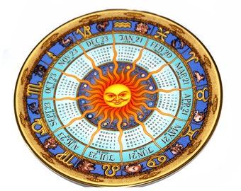 1991 Royal Doulton Astrological Calendar Plate By Bill Gregory. Decorative Plate. Horoscope. Zodiac. Astrological Plate. Signs Of The Zodiac