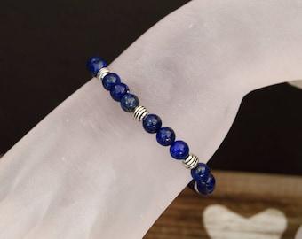 Lapis Lazuli Stretch Bracelet with Tibetan Silver Accents
