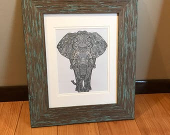 Elephant Print Colored In Shades of Gray