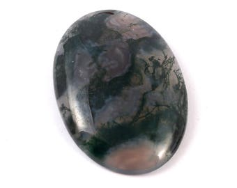 Awesome Natural Moss Agate Gemstone Cabochan With unique Design 49.5 Cts. Size 25 X 38 X 6 MGJ 238
