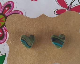 Polymer Clay, Blue/black/green, heart, stud earrings