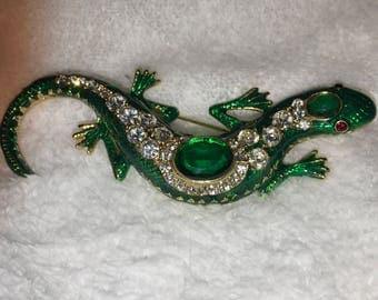 Signed, Kenneth Lane Jeweled Salamander