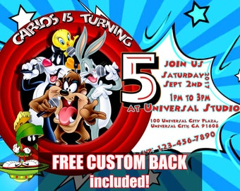 Bugs Bunny Looney Tunes  Birthday Party personalized custom Invitation