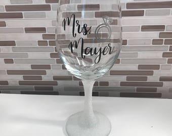 Glittered Mrs. Wine Glass