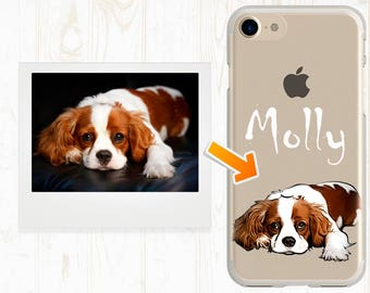 Custom illustrated Dog iPhone Case Dog iPhone 6 case Cute clear iPhone 7 cases Cavalier King Charles Spaniel gift Custom cases dog Cute ART