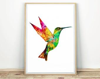 Colorful Hummingbird - Modern Wall Art, Colibri Print, Hummingbird Print, Bird Abstract Art, Bird Decor, Nursery Printable, Bird Print