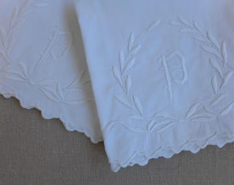 "Pair of Vintage Cotton Embroiderd Long Pillowcases - ""P"" Monogram - 26.5"" x 38"""