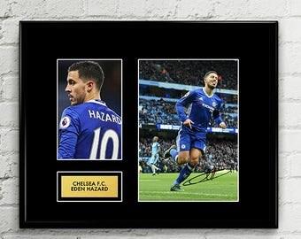 Eden Hazard Autograph Signed Poster Art Print Artwork - Chelsea FC Football Club - Premier League Champions 2017