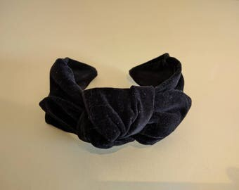 Black velvet headbands for women, top knot headband, hair scarf, turban, head wrap, hair accessories, ladies no slip stay on knotted