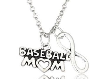 Baseball Mom Infinity Necklace Pendant