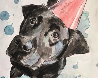 Custome Dog Illustration-Dog Portraits-Custom Watercolor Pet Portrait-Christmas Gift-Pet Portrait-black lab