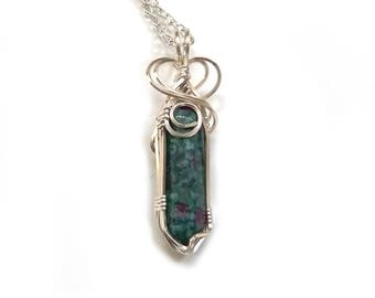Wire Wrapped Ruby in Zoisite Point