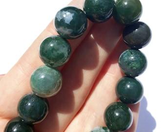 Gorgeous moss agate Green bead bracelet hardstone semi precious vintage stone gem round elasticated