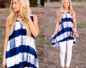 Blue and white tank shirt