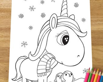 unicorn colouring etsy Disney Christmas Coloring Pages  Christmas Unicorn Coloring Pages